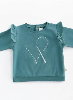 Magic Heart Ruffle Sweatshirt Yeşil