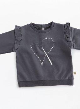 Magic Heart Ruffle Sweatshirt Siyah