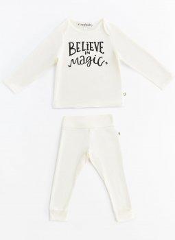 Beleive in Magic Uzun Kollu T-Shirt & Cozy Pants Ekru