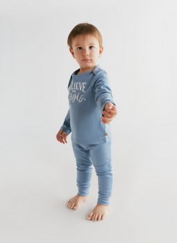 Believe in Magic Uzun Kollu T-Shirt & Cozy Pants Mavi